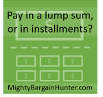Pay in a lump sum, or in installments?